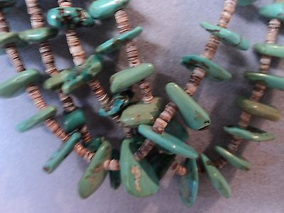 Navajo 50+ yrs Old Strands of Natural Turquoise and Clam Shell Heshi on String