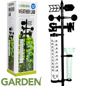 New Outdoor Weather Station Garden Lab wind spinner, thermometer, rainfall vase