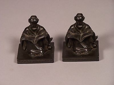 Antique L.V. Aronson Book Ends of Islamic Scholar Study Time 1923