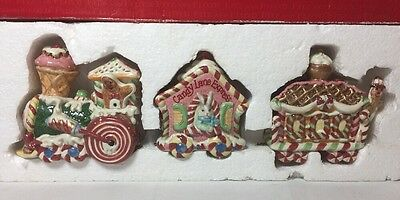 Vintage Fitz And Floyd *candy Lane Express 3 Pc Christmas Train Set In Box*