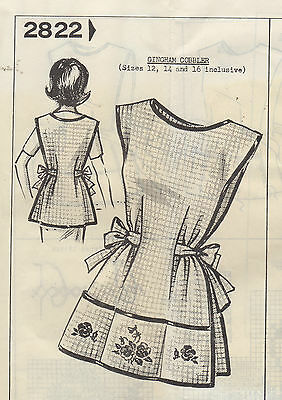 Vintage 60's Sewing Pattern Mail Order Gingham Apron & Embroidery Flower Design