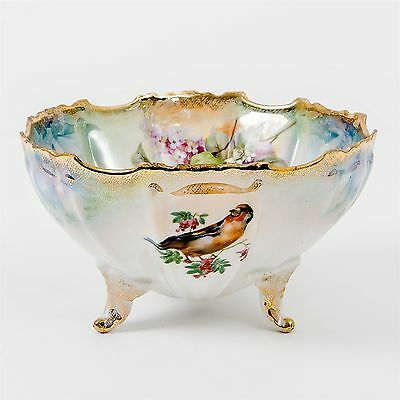 """Antique Hand Painted Silesia Porcelain Footed Bowl Floral Birds Gold Gilt 7"""" D"""