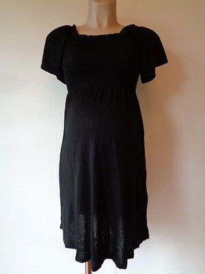 H&m Mama Maternity Black Smocked Tunic Dress Top Size S 8-10