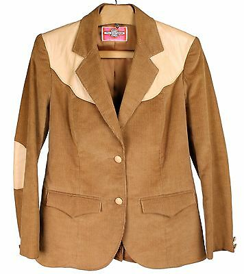 Vintage MS. PIONEER Corduroy w/Leather Trim Western Blazer Jacket Women's 8 / M