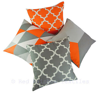 Collection of 4 Designs Orange & Grey Linen Geometric 18 Inch Cushion Covers