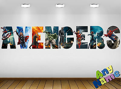 Personalised Marvel Avengers Wall decal stickers - Name - Letters. *3 SIZES*. S2