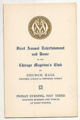 1st ANNUAL ENTERTAINMENT & DANCE OF THE CHICAGO MAGICIAN'S CLUB PROGRAMME 1912