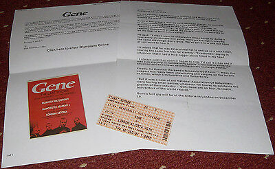 Job Lot: Gene/Martin Rossiter/Brit pop: Final show ticket/NME ad/on-line post