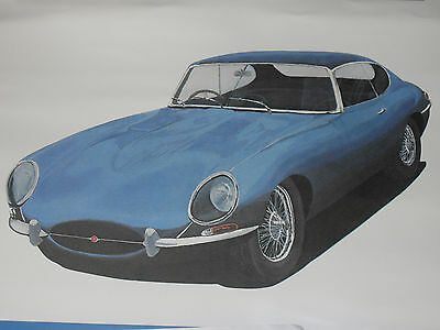"JAGUAR ""E"" TYPE  FINE ART PRINT FROM 1980s. 18"" x 14"""
