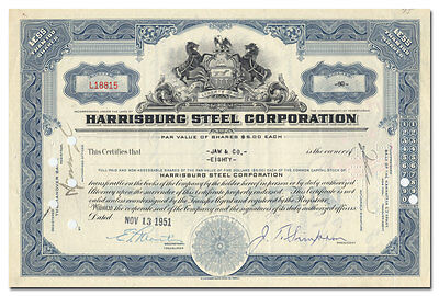 Harrisburg Steel Corporation Stock Certificate