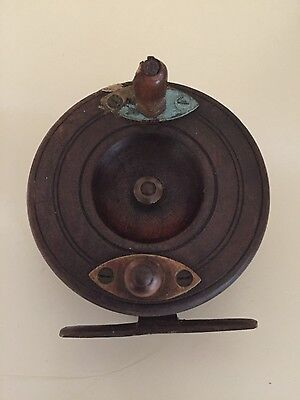 Old Vintage Brass Mounted Wood Fly Fishing Reel