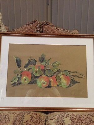 Pastel Framed Drawing Of Still Life Apples With Mount In Nice Frame