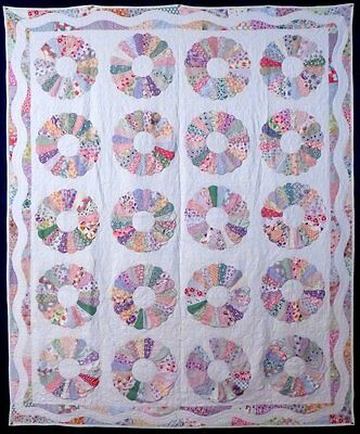 "ANTIQUE ""DRESDEN PLATE"" QUILT, cotton, c.1920-30, MINT, UNUSUAL BORDER..."