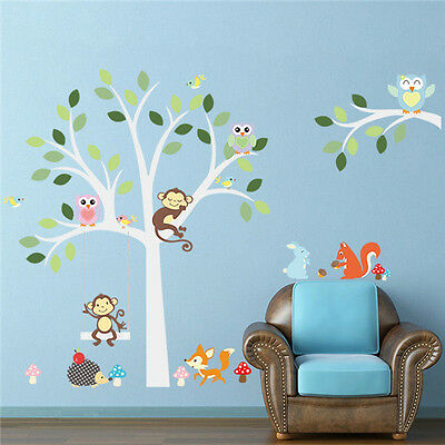 Cartoon colorful animals Owl Monkey Tree Wall Stickers Decals home Decor Art