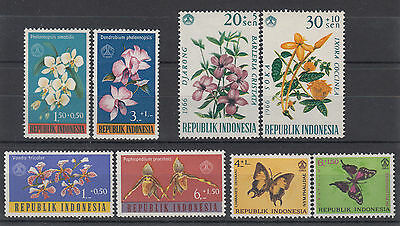 INDONESIA 1962 - 1966 ☀ flowers and butterflies ☀ 8 MNH stamps