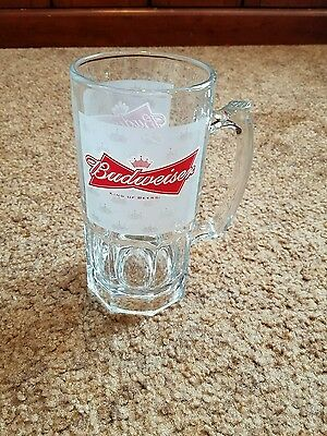 Large Budweiser Label Beer Glass Mug Stein