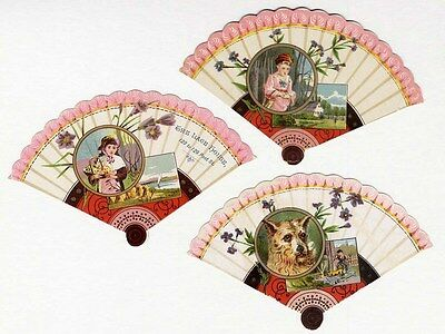 3 FAN SHAPE Cards 1880's - Victorian Children and a Dog