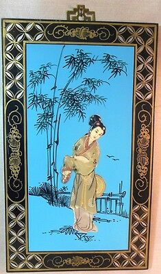 Vintage Japan Asian Geisha Girl Wood Panel Mother of Pearl Soap Stone