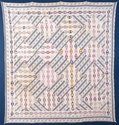 Unusual Antique Quilt, Unknown Pattern, Tiny Triangles, Cotton, C.1870-80, Worn.