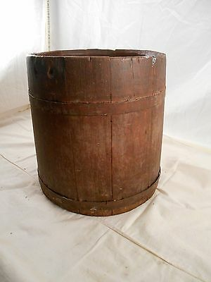 Antique Wooden Original Red Color 2 Metal Band Syrup Water Bucket Pail