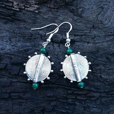 Sterling silver malachite real gemstone earrings Irish made jewellery gift.