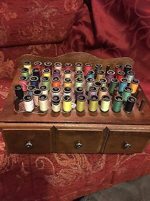 Wooden Sewing Box And Contents
