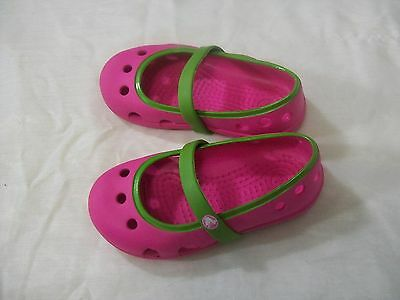 CROCS Girls Size C 6 BALLERINA FLAT MARY JANE  Pink & Green Summer Everyday