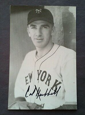 Carl Hubbell (d.1988) Signed Postcard vintage  Autograph    Hall of Famer