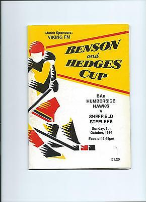 94/95  Humberside Hawks  v Sheffield Steelers  B and H Cup