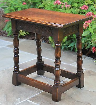 Antique English Carved Oak Bench Foot Stool Turned Post Legs Sunburst