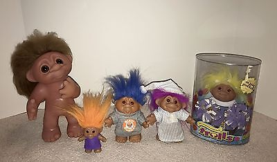 Lot of 5 Vintage DAM Trolls including Large Troll and Cheerleader Troll in Box