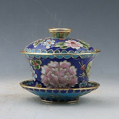 Chinese Cloisonne Hand Carved Flower Teacup PC0276