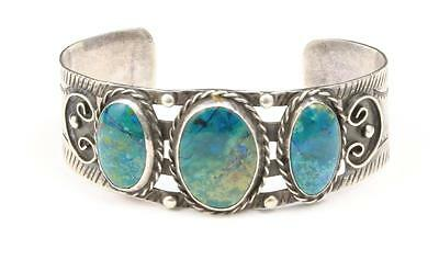 Vintage Taxco Green Turquoise Sterling Silver Cuff Bracelet Mexico Signed