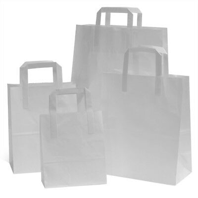 WHITE  FLAT HANDLES SOS TAKE AWAY PARTY PAPER BAGS **Choose Size and Pack Size**