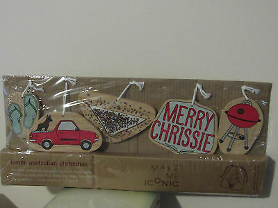 Iconic Austrlian Christmas Ornaments/Wooden, Lot of 5
