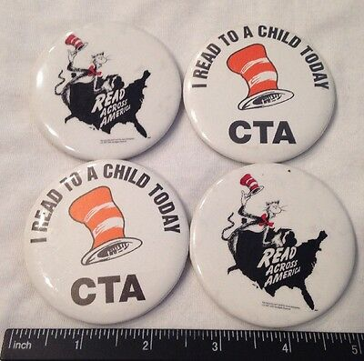 Vtg! Dr Suess Cat In The Hat Reading Books Button Pin Lot Set