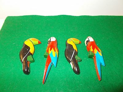 4 Costa Rica Hand Painted Wooden Bird Magnets
