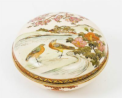 Antique Signed Hand Painted Japanese Porcelain Round Covered Trinket Box 4""