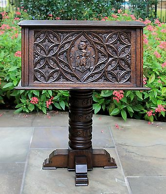 Antique French Oak GOTHIC Bible Box Book Stand RARE Knights Shields Bookcase
