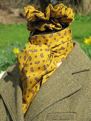 Self tie Mustard and Brown Paisley Design Cotton Stock and Scrunchie - Hunting