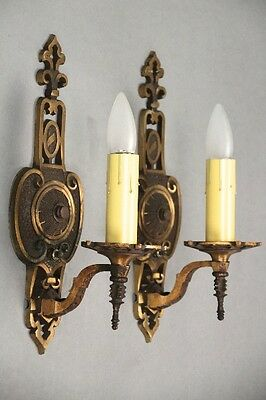 Pair 1920s Antique Sconce Lights Spanish Revival Tudor Vintage Lighting (10033)