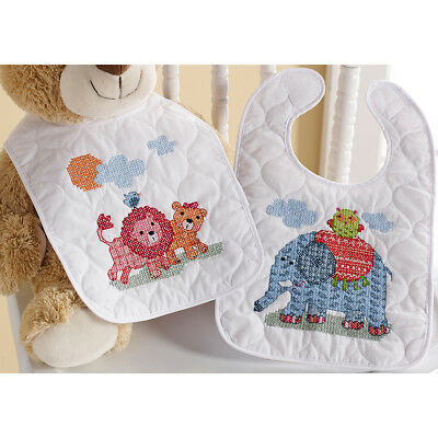 """Two By Two Bib Pair Stamped Cross Stitch Kit-9""""X14"""" Set Of 2 46361"""