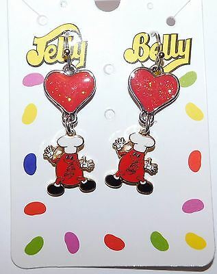 Vintage JELLY BELLY BEAN Enamel Dangle Earrings On The Original Card ExcCond