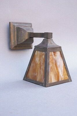 1910 Slag Glass Wall Mount Light Antique Art & Crafts Vintage Craftsman (9790)