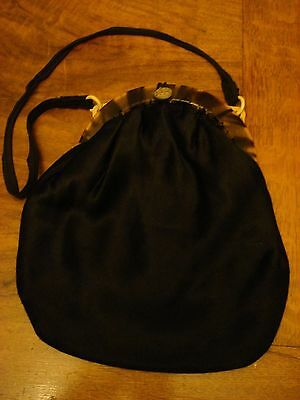 vintage black satin bag with bakelite/tortoiseshell clasp and collectable button