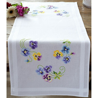 "Pretty Pansies Table Runner Stamped Embroidery Kit-16""X40"" V0145233"