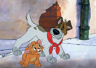 OLIVER & DODGER DISNEY HAND PAINTED LIMITED ED Animation Cel OLIVER AND COMPANY