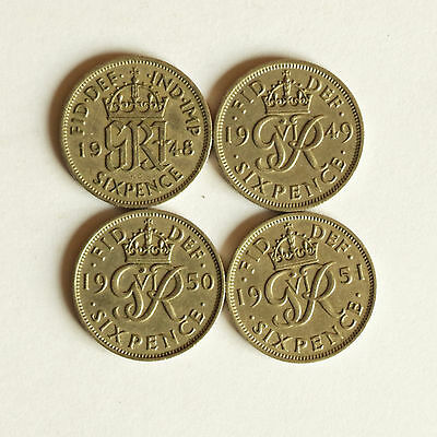 Four George VI sixpence coins 1948 to 1951 inclusive