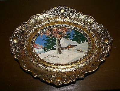 """Vintage Athentic Wiehler Gobelin """"winter's Tale"""" Needlepoint In Oval Frame"""