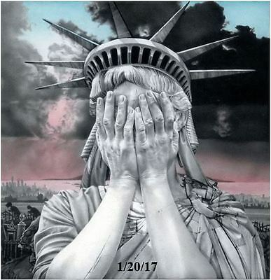 """Statue of Liberty Crying Anti Trump Wins 2016 Election Magnet 4"""" x 4.5"""""""